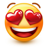 Cute in love-face emoticon or 3d smiley emoji with heart-shaped eyes that shows love or approvation towards a person or a thing.