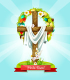 Easter Sunday Cross with flowers greeting card