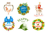 Easter Day cartoon label set for holiday design