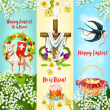 Happy Easter, He is Risen festive banner set