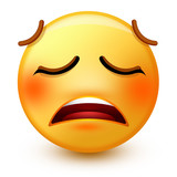 Cute weary face emoticon or 3d tired emoji with an exhausted-looking face, open mouth and tightly closed eyes. It shows tiredness and also stress.