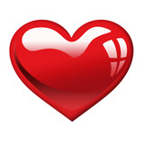 Glossy heart icon isolated on white background