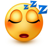 Cute sleeping face emoticon or 3d sleepy emoji with closed eyes and a sleep symbol – Zzz – over its head, that shows sleeping or tiredness.