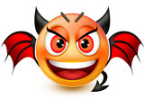 Funny devil-like face emoticon or 3d red demon emoji with horns, bat wings and an arrow-shaped tail.