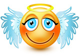 Cute angel-like face emoticon or 3d smiling winged emoji with blue wings and a golden halo over its head . It may be used for someone who has done a good deed.