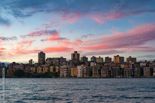 Poster Oceanië Kirribilli suburb of Sydney at sunset