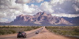 Arizona desert road leading to Superstition Mountain near Phoenix,Az,USA