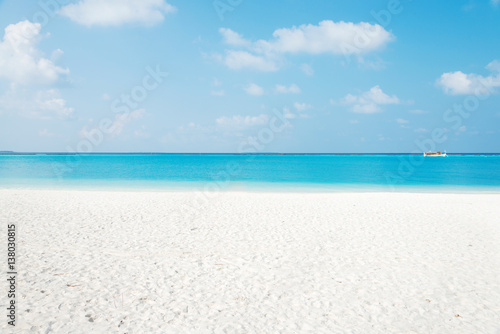 Foto op Plexiglas Tropical strand beautiful tranquil beach in blue sunny sky