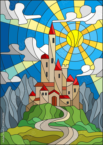 illustration-in-stained-glass-style-landscape-with-old-castle-on-the-background-of-sky-sun-and-mountains