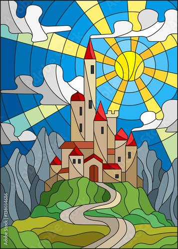 ilustracja-w-witrazu-stylu-krajobraz-z-starym-kasztelem-na-tle