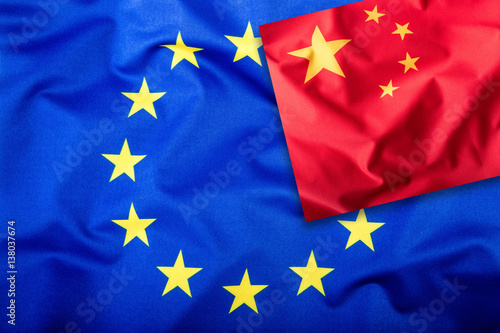 Poster Flags of the China and the European Union