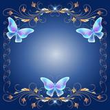 Golden frame with transparent butterflies
