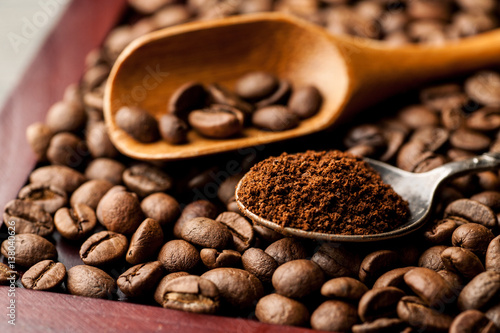 Coffee in a metal and wooden spoon closeup shot