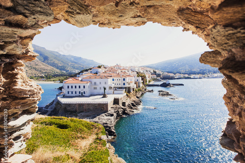 Beautiful view at Chora, the capital of Andros island, Cyclades, Greece