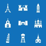 Set of 9 tower filled icons