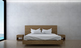 the interior design of minimal bedroom and concrete wall