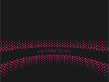 Halftone effect title strip with pink text on dark grey background. Vector illustration.