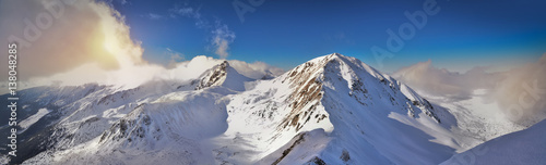 Panoramic winter view of west Tatra mountain. Wolowiec peak