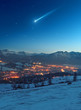 Shooting star over the city Zakopane - Poland