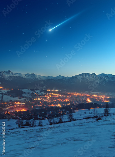 Shooting star over the city Zakopane - Poland Poster