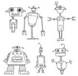 Funny Cartoon  Robot Characters Wall Sticker
