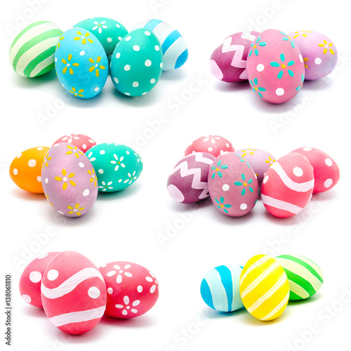 Collection of photos perfect colorful handmade easter eggs