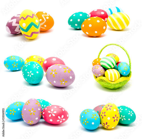 Plagát, Obraz Collection of photos perfect colorful handmade easter eggs