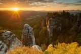 Gold sunrise in Saxon, Bastei, Saxon Switzerland, Germany