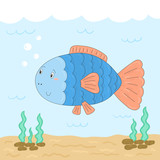 Cute hand drawn fish under water. vector print