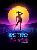 Retro 1980s dancing lady with glitch sunset background. Vector illustration