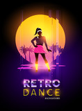A women dancer against a retro glitch sunset. Vector illustration