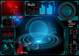 technical HUD display with futuristic digital interface elements. Vector illustration
