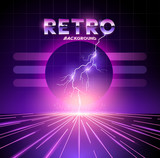 Retro 1980s neon horizon background with lightning bolts. Vector illustration