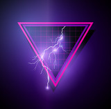 Retro 1980s Element with triangles and lightning bolts. Vector illustration