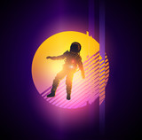 Retro 1980s gitch distortion background with a spaceman. Vector illustration