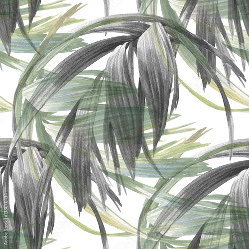 Watercolor illustration of leaf, seamless pattern on white background - 138070434