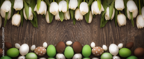 Easter background with tulips - 138070447