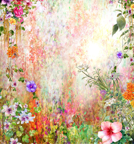 Fototapeta Abstract colorful flowers watercolor painting. Spring multicolored in .nature.