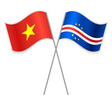 Vietnamese and Cabo Verdean crossed flags. Vietnam combined with Cape Verde isolated on white. Language learning, international business or travel concept.