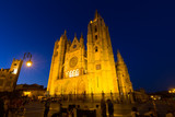 Wide angle shot of Leon Cathedral in night