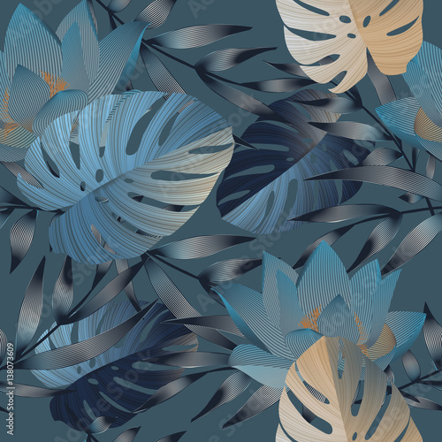 Tropical flowers, jungle leaves, bird of paradise flower. - 138073609