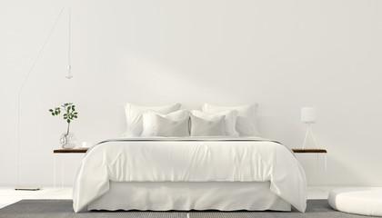 Minimalistic interior of white bedroom