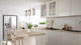 Scandinavian classic kitchen with wooden and white details, minimalistic interior design - 138081021