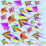 Kites Rainbow Colors in the Wind
