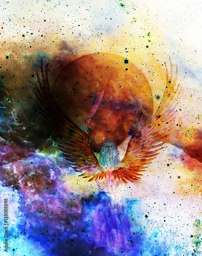 Angel holding sword with snake, moon in background. Painting and graphic effect.