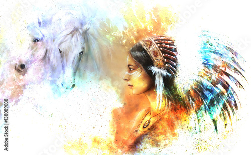 young native indian woman wearing a gorgeous feather headdress, with two horse, and cosmic space background.