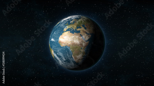 Realistic Earth centered on the African and European continent, with stars in the background - 138099434