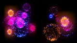 4K big beatiful firework at holiday night. 3d animation with different versions fireckrackers. version 7
