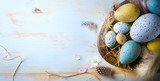 Easter background with Easter eggs and spring flowers. Top view with copy space - 138115026
