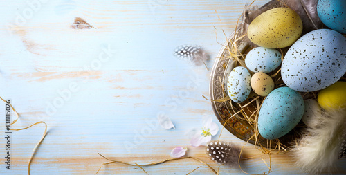 Easter background with Easter eggs and spring flowers Poster